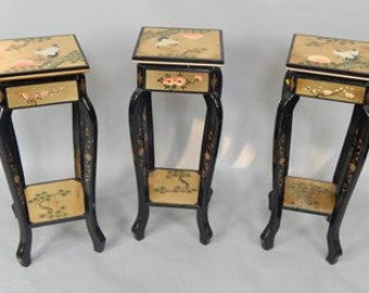 Oriental  gilt and black lacquered square jardiniere stands Stunning