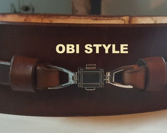 Je'daii Knight Belt with Obi Style Buckle (Brown or Black)