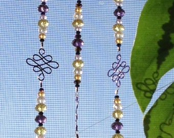 Hand Made Purple Sun Catcher with Crystals