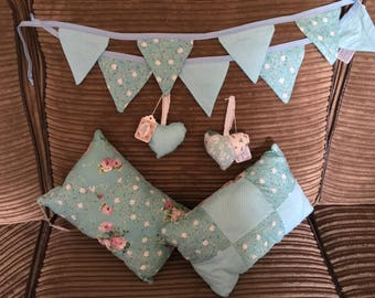 blue Bunting // scatter-cushions and hanging hearts