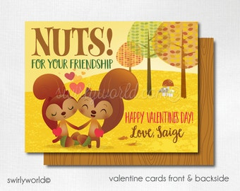 Squirrel Woodland Valentine's Day Cards, Cute Valentines for Girls, Kids Valentine Cards, Classroom Valentine Cards for Girls  DI-VAL79