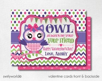 Retro Owl Valentine Cards, Digital Printable Owl Valentine Cards, Digital Valentine Cards, Digital Printable Owl Valentines, DIVAL70