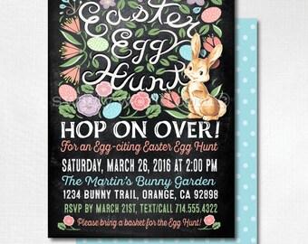 Easter Party Invitations, Egg Hunt Easter Invites, Easter Egg Hunt, Egg Hunt Party, Egg Hunt Invitation, Easter Party, Happy Easter, DI-7001
