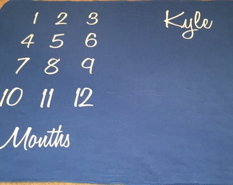 Personalized Baby Monthly Milestone Blanket Throw Custom Months Old Frame Girl Boy First