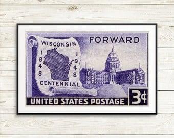 Wisconsin posters, Wisconsin gifts, Wisconsin decor, Wisconsin decor, Wisconsin stamp, Wisconsin postage, Wisconsin wall art, Wisconsin map