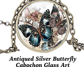 Steampunk PENDANT Cabochon, Butterfly, Silver ** CLEARANCE **