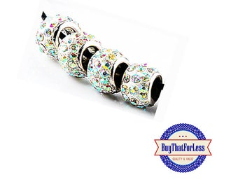 Glittery Glass Beads, CLEAR, 6 pcs **FREE Shipping with orders 10 dollars+**