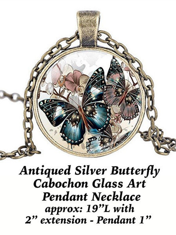 Steampunk Pendant Cabochon, Butterfly, Silver   **FREE Shipping with orders of 10 dollars+ **