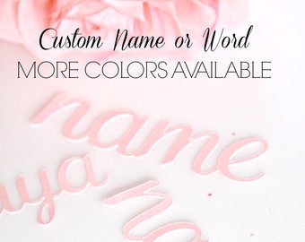 Custom Name Confetti, Word Confetti, Script Font Letters, Name Diecut, Pink Blue, Baby Shower, Wedding Confetti, Rose Gold Bridal Shower