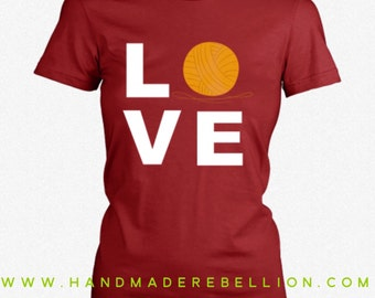 LOVE Knitting - Womens Shirt, Womens Tee, Womens Crew Neck, Craft Shirt, Knitting T Shirt