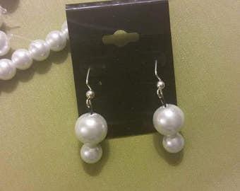 White glass pearl dangle earrings