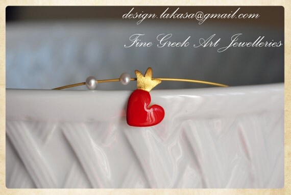 Silver 925 Gold-plated Necklace Enamel Heart Crown