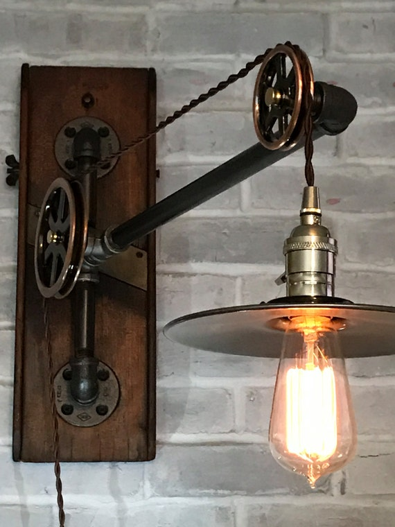 Industrial Pulley Lamp Small Vintage Pulley Swing Arm Lamp