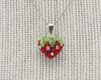 Sterling Silver Crystal Pave Strawberry Necklace