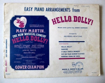 Piano Arrangements from Hello Dolly Sheet Music, 1960s Music Book