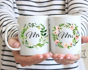 Mr and Mrs Coffee Mugs - Couple Coffee Mugs, Bridal Shower Gift, Wedding Gift, Engagement Gift, Anniversary Gift, Bride and Groom Gift