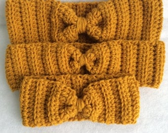 Mustard Crochet Headband - Crochet Earwarmer - Womens Headband - Girls Headband - Chunky Crochet Headband - Crochet Winter Earwarmer