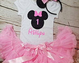 Minnie Mouse Birthday Outfit, Girls Birthday Outfit, Black and Pink Pettiskirt Birthday Outfit, Petti skirt Birthday Outfit