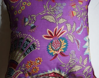 Spring series 5: cushion, 40 x 40 or 16 x 16, purple cotton, Indian floral motifs, linen.