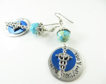 Hand stamped nurse blue earrings