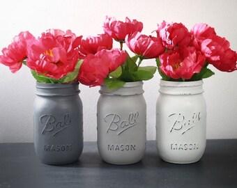 Spring Set of 3 Pint Size Painted Ball Mason Jars, Wedding Decor, Home Decor, Wedding Centerpiece, Table Topper, Valentine Decor, Rustic