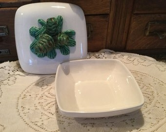 California pottery, USA pottery, Trinket Box, Pinecone box, Mid Century Modern, Mountain decor, Cabin decor, Ranch, Interior design