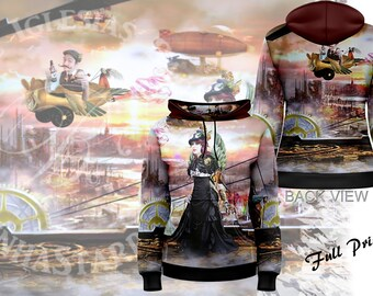 Steamed Away - Womens Pullover Fullprint Hoodie - Steam Punk