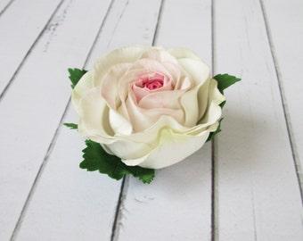 White Rose Hairpin - Flowers hair pin - Flowers hair accessories - Foam handmade flowers - Yellow flowers hair decoration