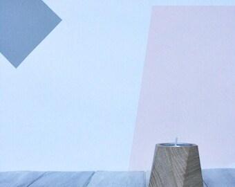 Goya Geometric Tealight holder, Set 2, Handmade from Reclaimed Hardwood ++ FREE GIFT