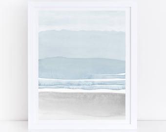 Blue Grey Watercolor Print, Printable Abstract Art, Blue Grey Wall Art, Neutral Wall Art, Blue Watercolor, Neutral Print, Modern Watercolor