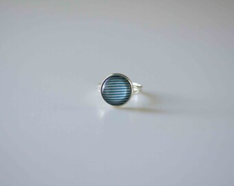 Glass Cabochon Ring,  Blue Stripe in Silver plated adjustable ring