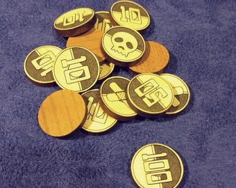 Set of (15) Wooden Counters for Pokemon