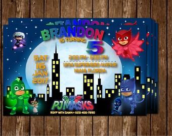 PJ Masks Invitation, PJ Masks Invite, PJ Masks Birthday
