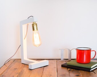 Wood lamp, edison lamp, handmade, table lamp, design lamp, desk lamp. Pisa White Lamp by Belight Barcelona