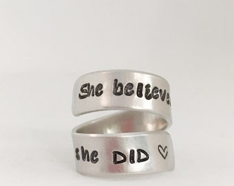 She believed she could so she did Personalized wrap ring custom ring encouragement gift for group congrats gift custom monogrammed ring sale
