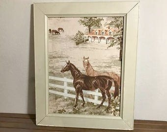 Vintage Shabby Chic Horse Framed Art, 1950's Wall Decor , Framed Linen, Equine Equestrian Decor, Country Home