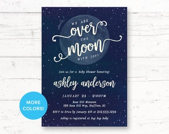 Over the Moon Baby Shower Printable Invitation, Cow, Outer Space, Moon Invitation, Custom Printable Invite