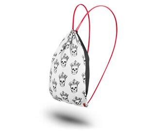 Cotton drawstring backpack gym bag White Skull