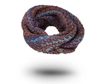 Mens scarf Chunky Knitted Cowl Chocolate Wool