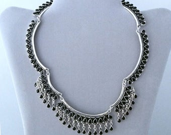 925 sterling silver indian ethnic necklace and onyx gemstones