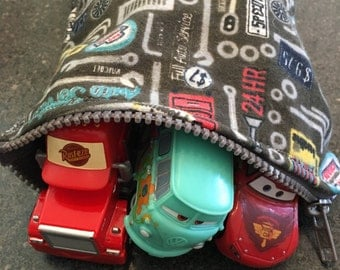 Large Zipper Pouch, toy bag, travel bag...cars garage design