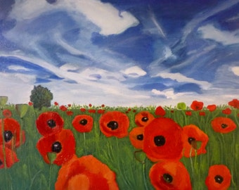 Poppies Under Cloudy Sky