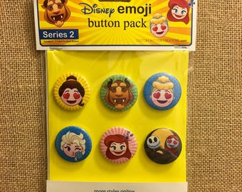 "Custom Disney Emoji 1.5"" Pin Back Buttons - SERIES 1,2 and 3"