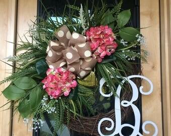Pink Hydrangea Monogram Grapevine Wreath, Summer Wreath, Monogram Wreath, Pink Flower Wreath