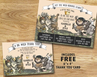 Where The Wild Things Are Baby Shower Invitation // Digital File Only