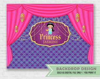 Arabian Nights Party Backdrop // Princess Jasmine Banner Backdrop // Birthday Backdrop // DIGITAL FILE only