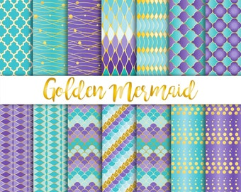 Golden Mermaid Girl Birthday Party, Digital Papers, Pattern, Seamless, scrapbooking, purple, teal, green, gold birthday invitation