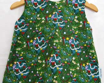 Reversible Christmas Dress size 6-12 months - Christmas Tree Dress, Green Dress, Christmas Dress, Crossover Pinny, Christmas Pinny