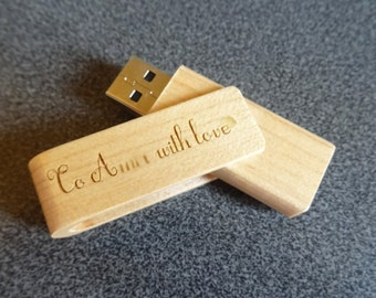 Customize engrave wooden USB flash drive 16 GB, wood name personalized gift