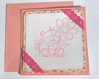 "Child card ""pink Pooh"""